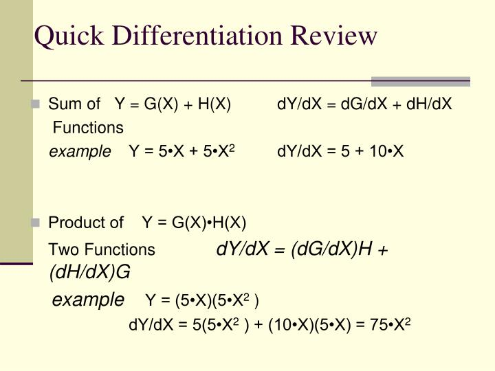 Quick Differentiation Review