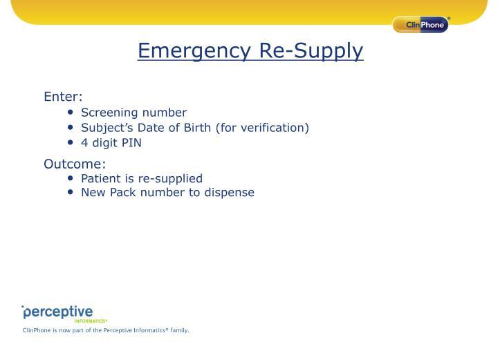 Emergency Re-Supply