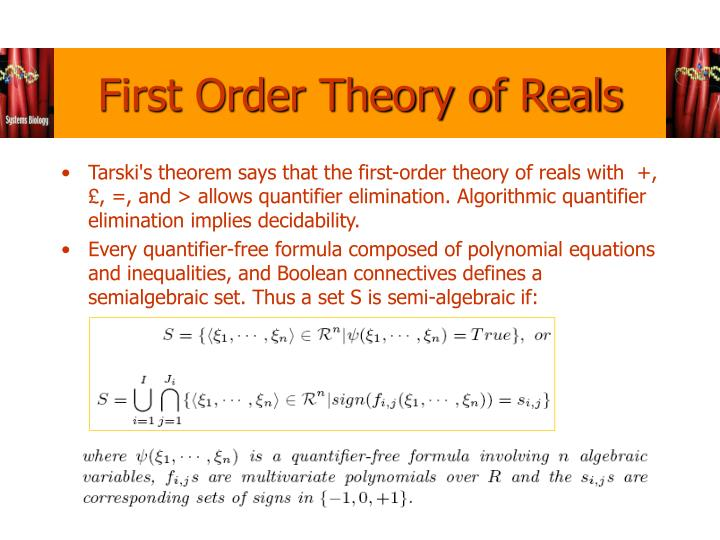 First Order Theory of Reals