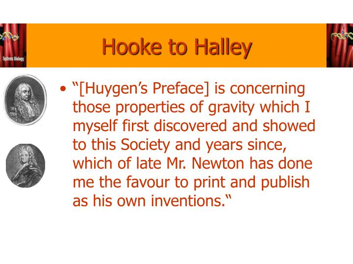 Hooke to Halley