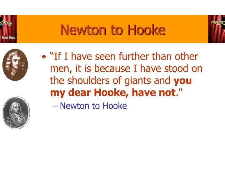Newton to Hooke