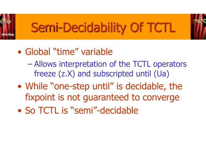 Semi-Decidability Of TCTL