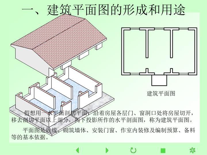 一、建筑平面图的形成和用途