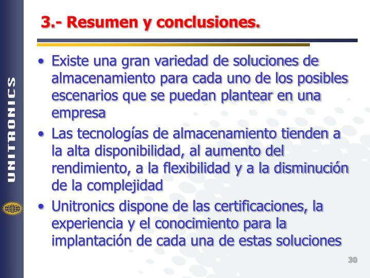 3.- Resumen y conclusiones.