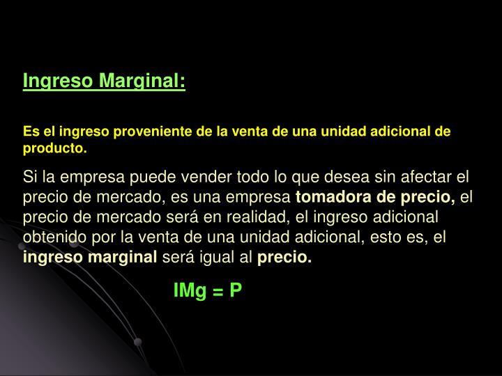 Ingreso Marginal: