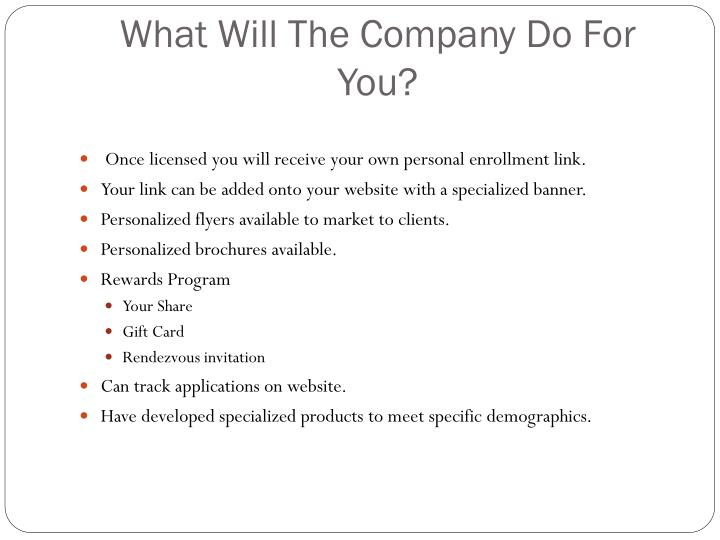 What Will The Company Do For You?