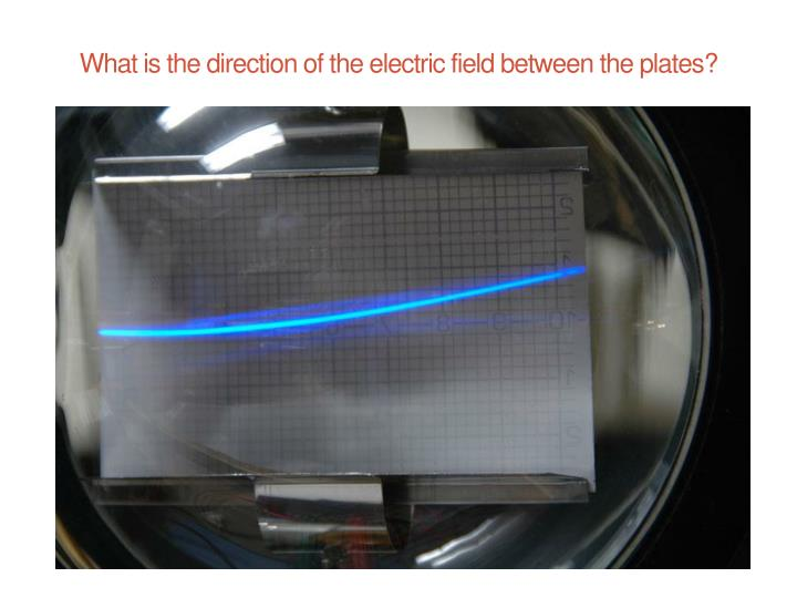 What is the direction of the electric field between the plates?