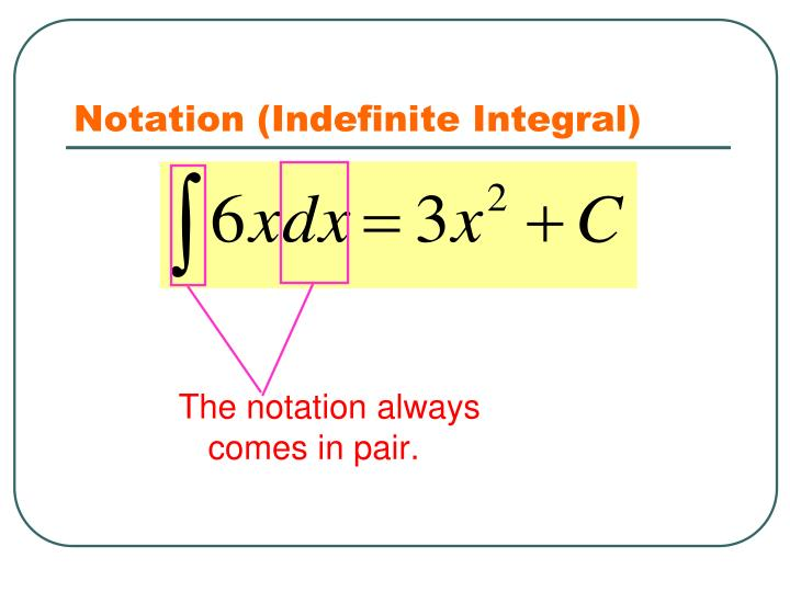 Notation (Indefinite Integral)