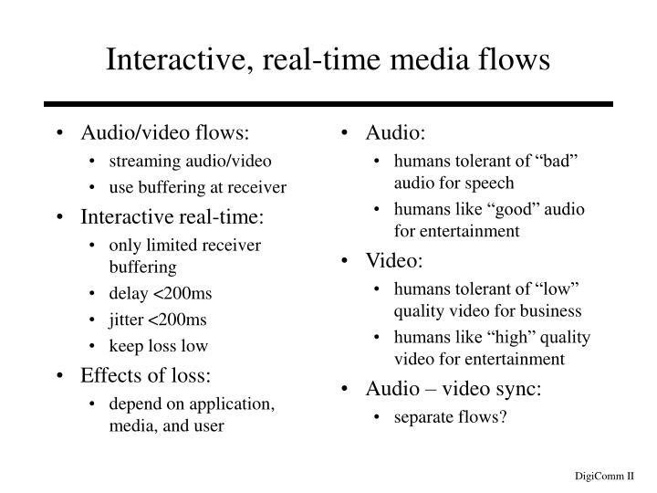 Audio/video flows: