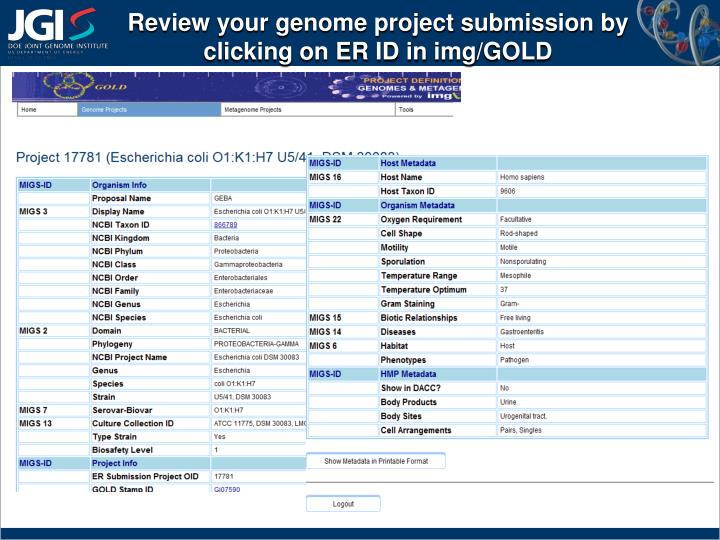 Review your genome project submission by clicking on ER ID in