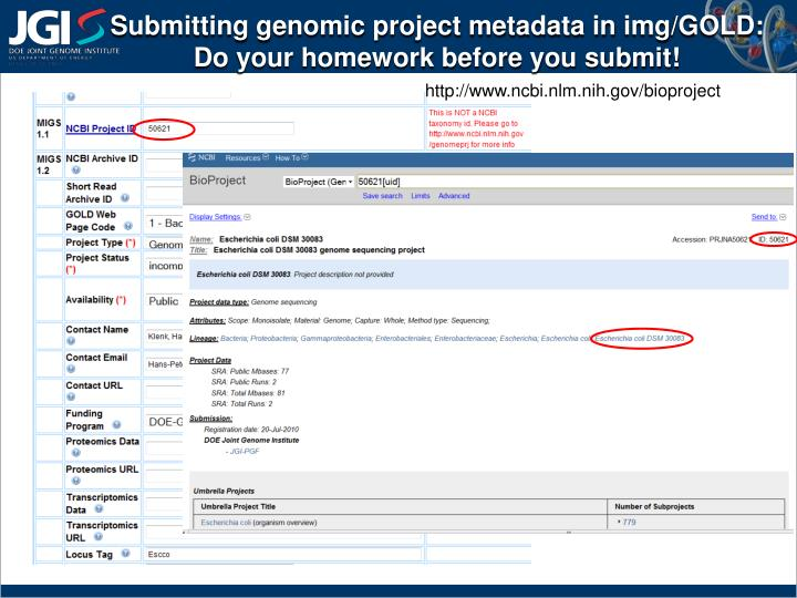 Submitting genomic project metadata in
