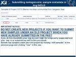 submitting metagenomic sample metadata in img gold3