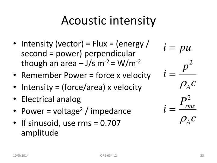 Acoustic intensity