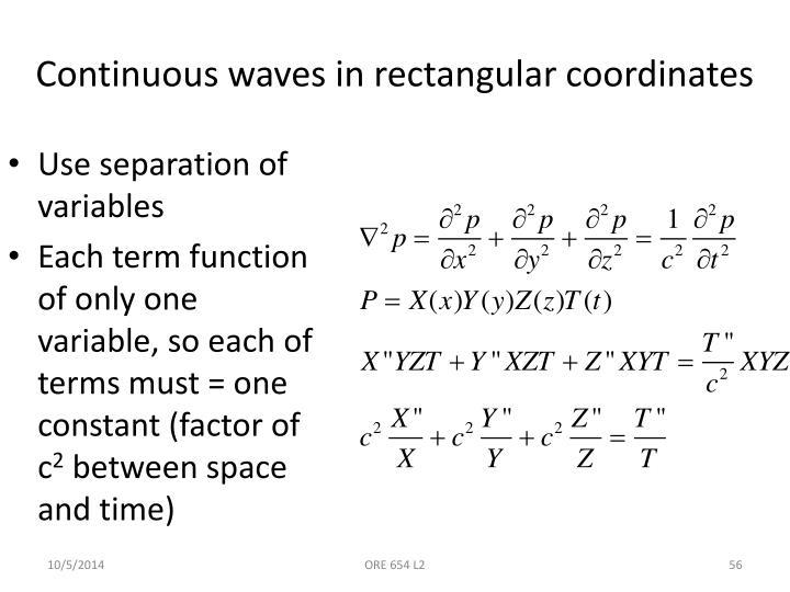 Continuous waves in rectangular coordinates