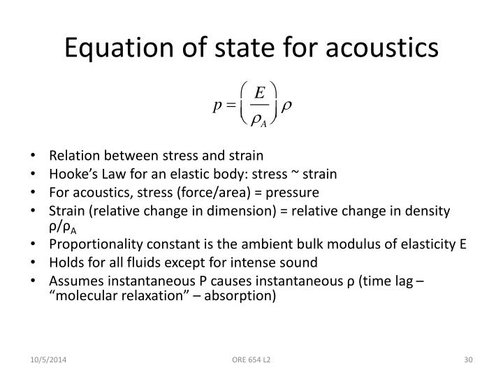 Equation of state for acoustics