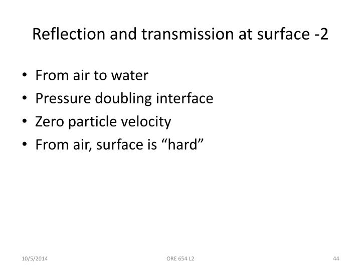 Reflection and transmission at surface -2