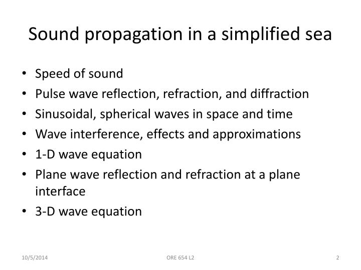 Sound propagation in a simplified sea