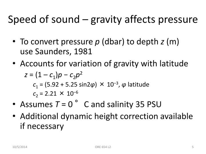 Speed of sound – gravity affects pressure