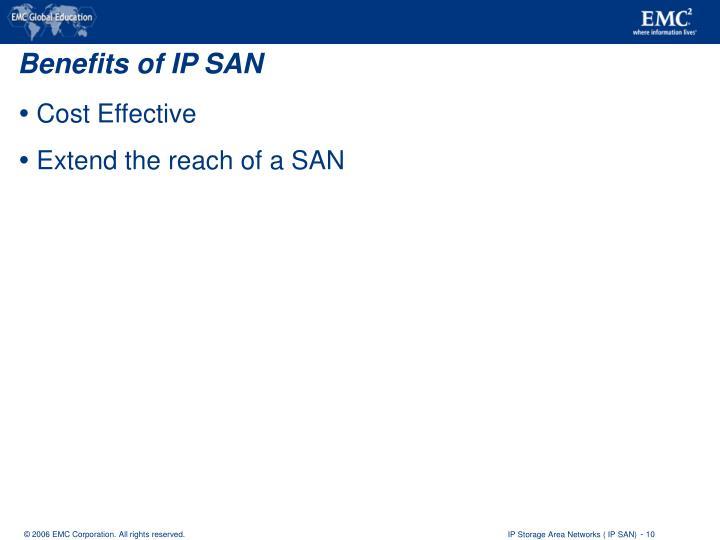 Benefits of IP SAN