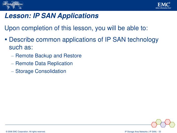 Lesson: IP SAN Applications