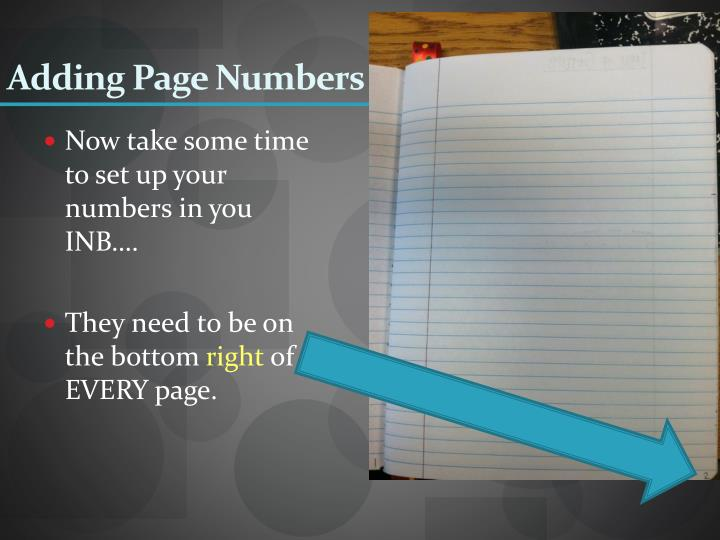 Adding Page Numbers