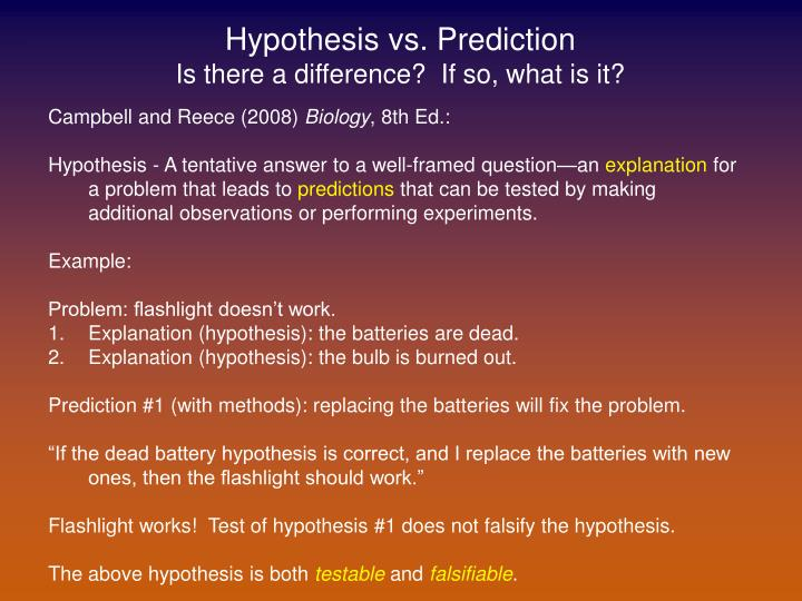 hypothesis and prediction examples A hypothesis is a tentative, testable answer to a scientific question once a  scientist has a scientific question she is  examples of hypotheses and  predictions.