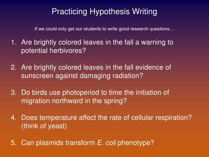 Practicing Hypothesis Writing