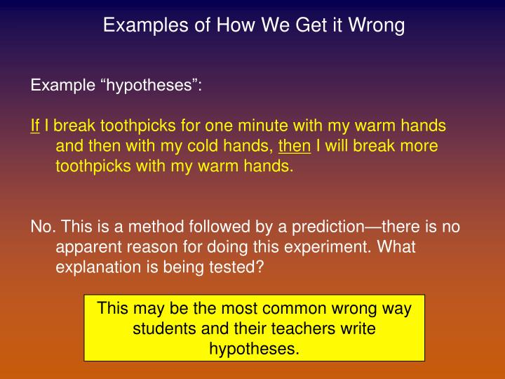Examples of How We Get it Wrong