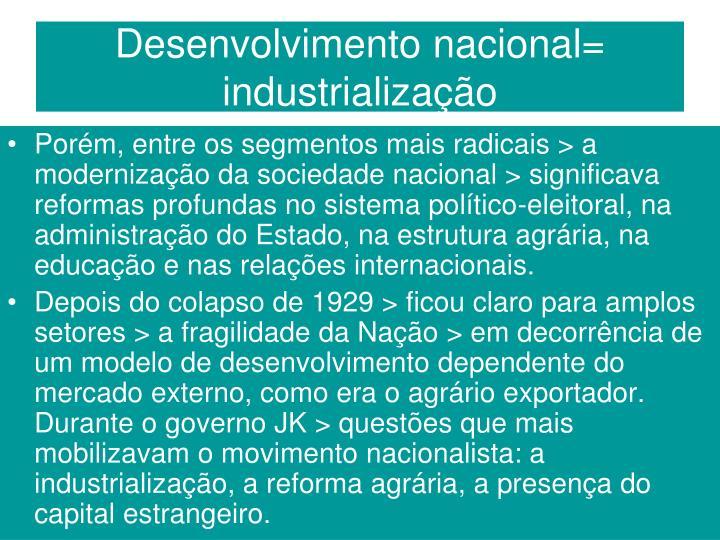 Desenvolvimento nacional= industrialização