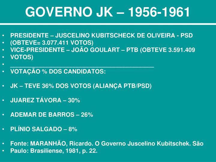 GOVERNO JK – 1956-1961