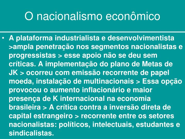 O nacionalismo econômico