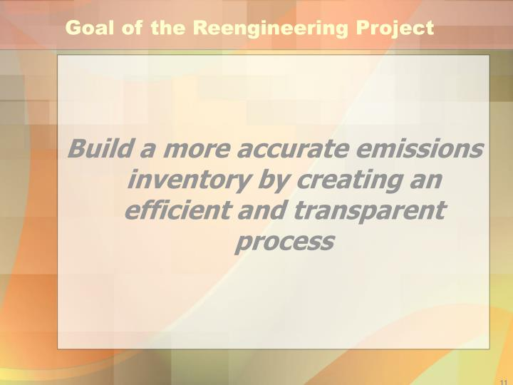 Goal of the Reengineering Project