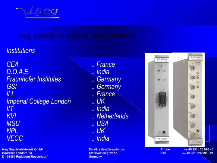 iseg, a partner in research, some references