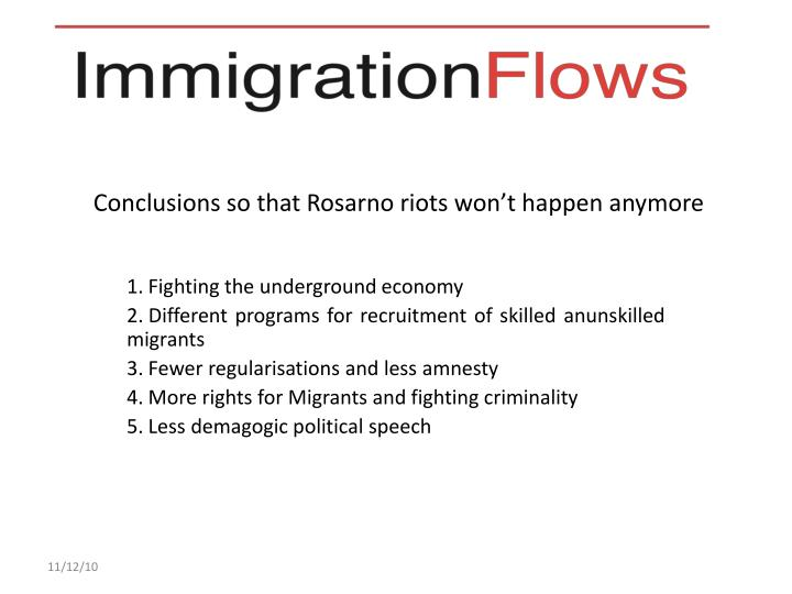 Conclusions so that Rosarno riots won't happen anymore