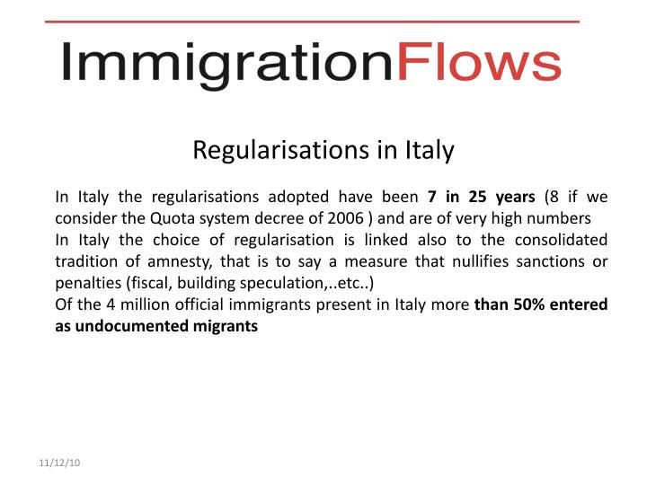Regularisations in Italy