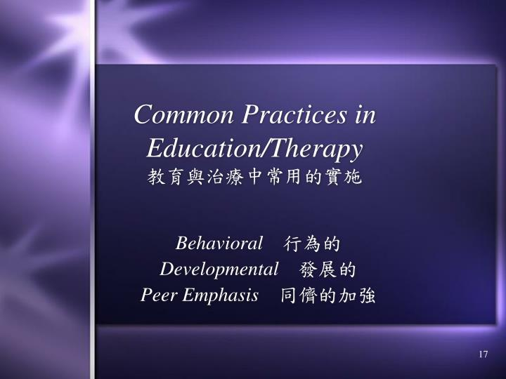 Common Practices in Education/Therapy