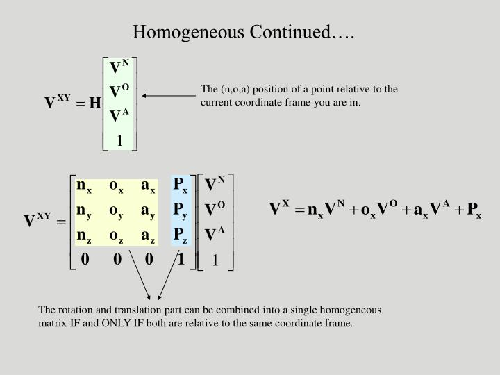 Homogeneous Continued….