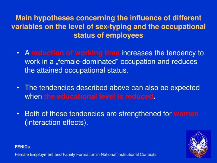 Main hypotheses concerning the influence of different variables on the level of sex-typing and the occupational status of employees