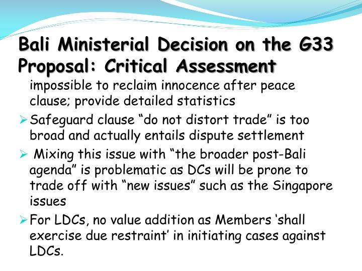 Bali Ministerial Decision on the G33 Proposal: Critical Assessment