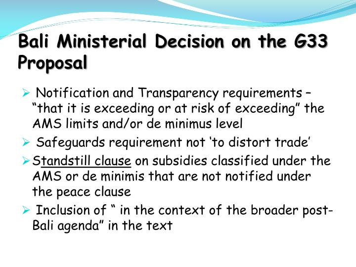 Bali Ministerial Decision on the G33 Proposal
