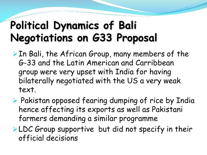 Political Dynamics of Bali Negotiations on G33 Proposal