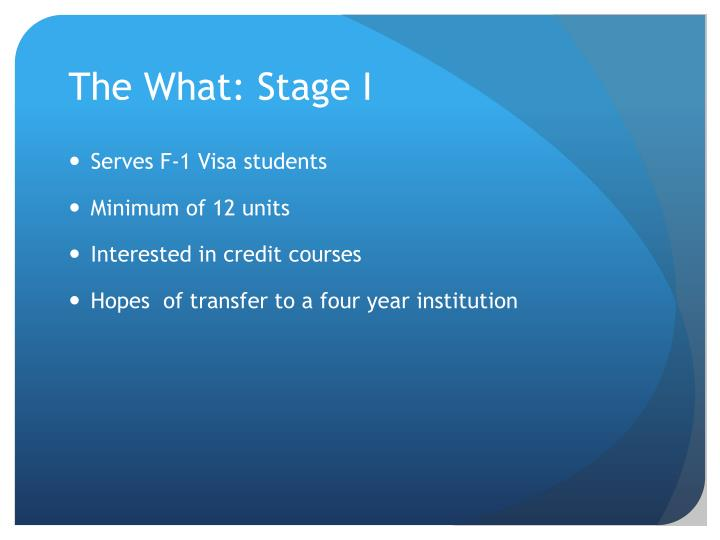 The what stage i