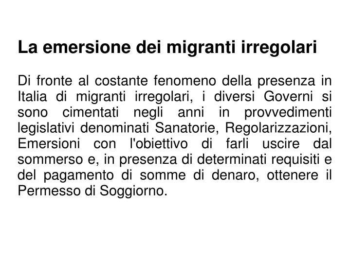 La emersione dei migranti irregolari