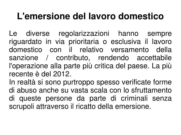 L'emersione del lavoro domestico