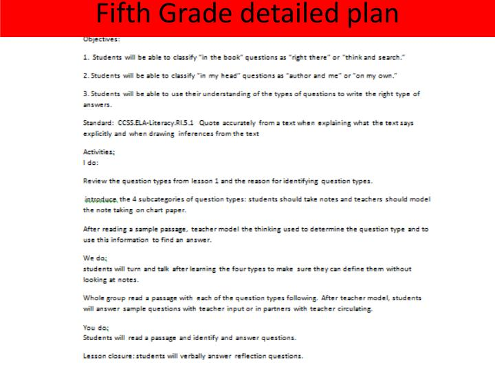 Fifth Grade detailed plan