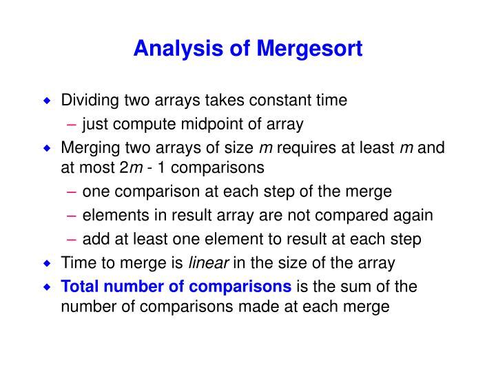 Analysis of Mergesort