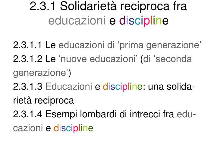 2.3.1 Solidarietà reciproca fra