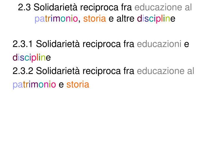 2.3 Solidarietà reciproca fra