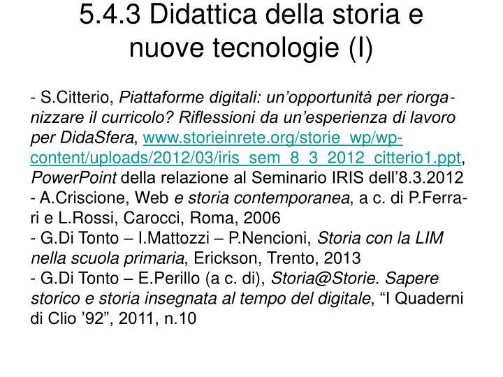 5.4.3 Didattica della storia e