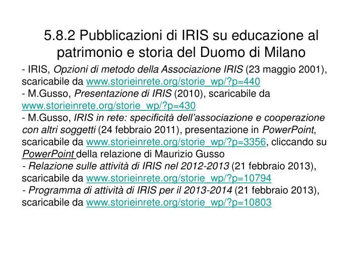 5.8.2 Pubblicazioni di IRIS su educazione al patrimonio e storia del Duomo di Milano